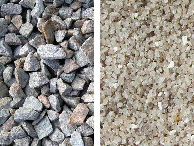 Гранитный щебень и кварцевый песок