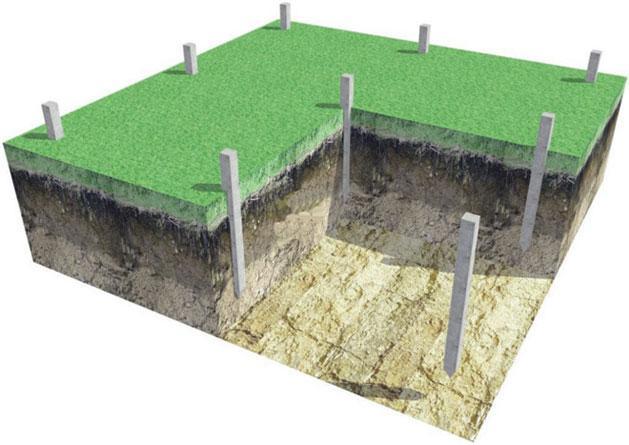 Схема устройства свайного поля