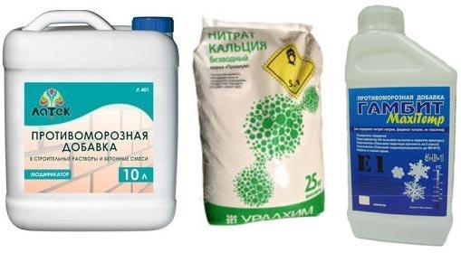 Виды противоморозных добавок